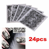 24 Sheets DIY Decals Nail Art Water Transfer Printing Stickers Black Lace Decor~