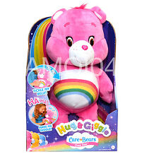 Care Bears Cheer Bear Rainbow Pink Plush Toy Hug & Giggle Tickle My Belly New