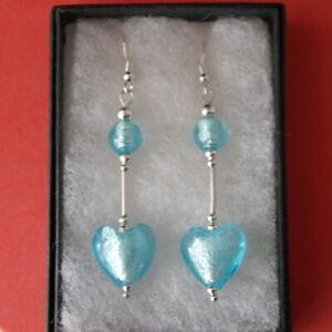 Beautiful Silver Earrings With Heart Blue Murano Glass 8 Gr. 5 Cm. Long + Hooks