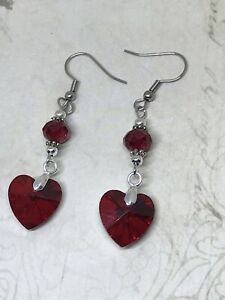 Classic Vintage Drop Dangle Beaded Red Heart Earrings Gothic Jewelry novelty