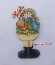 HP Snowman  wooden christmas  ornament,  handpainted, candycanes,