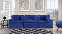 Large Classic Living Room Sofa, Plush Velvet Couch (Dark Blue)