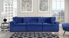 Large Classic Living Room Sofa, Plush Velvet Couch (Dark Blue)