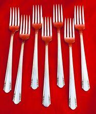 VINTAGE 40s WM A ROGERS ONEIDA LTD VISTA 7 DINNER FORKS SILVER PLATE FLATWARE