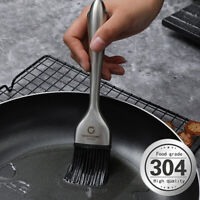 8 / 12 inch Basting Pastry BBQ Stainless Steel Solid 304 Brush with Silico um