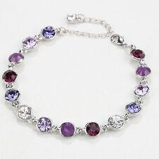Women Purple Amethyst Crystal Rhinestone White Gold Plated Adjustable Bracelet