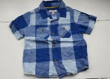 Marks and Spencer M&S Indigo blue white check short sleeved shirt age 3-4 years