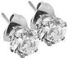 Titan Titanium Ohrstecker Ohrringe Silber Zirkonia rund Brilli Damen Herren 4 mm