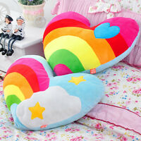 Lovely Heart-Shaped Plush Toy Rainbow Cloud Back Cushion Stuffed Doll Pillow New