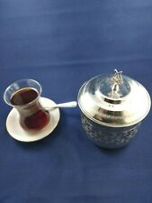 Handmade Floral Design Silver Copper Sugar Bowl