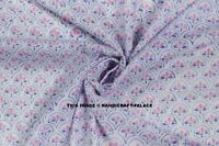 Cotton Voile Fabric Hand Block Floral Print Indian Decorative Sewing By Yard
