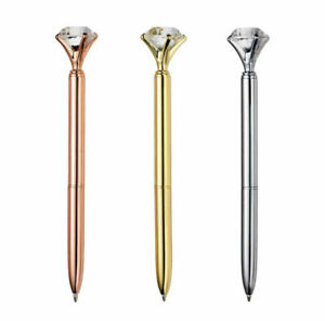 Diamond Crystal Top Effect Ballpoint Black Ink Pen Wedding Guest Books Kids UK