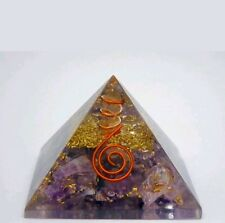 Reiki Energy Charged Amethyst Crystal Orgone Pyramid Powerful Energy Genrator6cm