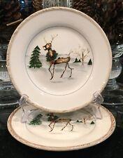 "American Atelier Christmas Twigs Reindeer 8-1/4"" Salad Dessert Plates Set of 2"