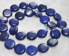 "14x14mm Natural Egyptian Lapis Lazuli Coin Gemstone Loose Beads 15"" PL404"