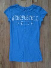 Womens Blue/White Aeropostale 1987 Graphic Logo S/S T-Shirt - Xsmall 100% Cotton