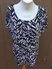 New Chico's Travelers Black & White Feather Stripe Top Shirt Sz 3 = XL 16 18 NWT