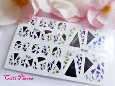 Nails Self Adhesive Full Toe Polish Wrap Sticker Shards Shattered Stain Glass T8