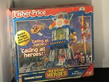 vintage Fisher-Price Rescue Heroes Command Center  W/ Add. Figs, acces.