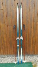 "VINTAGE Wooden 83"" Skis with BLUE Finish + Signed MADSHUS Have Metal Bindings"