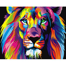 DIY Hand Canvas Paint By Numbers Kit Oil Painting Art Rainbow Lion Without Frame