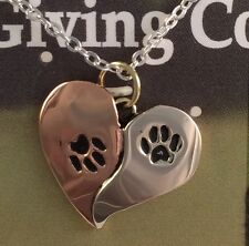 Double Paw Print Ying Yang Pendant Necklace Pet Adoption 10% Donated -Gift Boxed