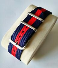 22mm Nato Strap Correa Reloj Nylon Watch band Azul y rojo Blue and red.