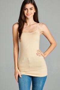 Womens Plus Size Cami Tank Top Active Basic Spaghetti Strap Long XL/1X-2X-3X