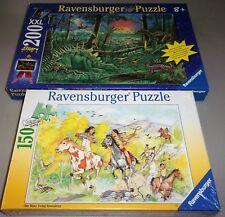 2 Ravensburger  Kids Puzzles PONY RACING & Amazing Dinosuars Glow in Dark 200pcs