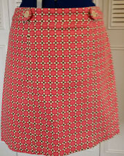 TALBOTS Women's Size 12 Pink/Brown/Cream Print A Line Knee Length Skirt Lined