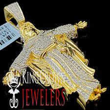 10K Yellow Gold Finish Diamond Jesus Christ Pendant Round Pave Praying Charm