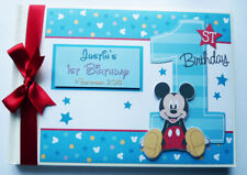 PERSONALISED DISNEY MICKEY FIRST/1ST BIRTHDAY GUEST BOOK - ANY DESIGN