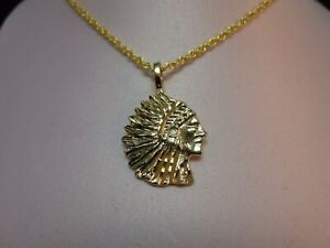 """14KT GOLD EP NATIVE AMERICAN INDIAN CHIEF CHARM WITH 20"""" ROPE CHAIN- 2180"""