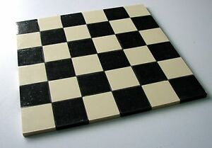 Victorian floor tiles on sheet - black & white 50mm squares (x36) Chequerboard