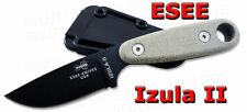 ESEE Izula II Micarta Handle Black Blade with Sheath and Clip Plate IZULA-II-B