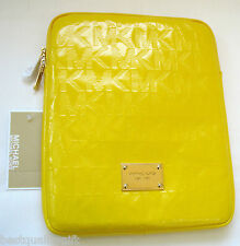 NEW-MICHAEL KORS ELECTRONICS CITRUS YELLOW MK LOGO LEATHER+GOLD IPAD CASE/COVER
