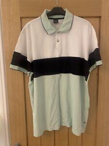 HUGO BOSS Mens M Polo Shirt XXXL - White Green And Black  - Great Condition