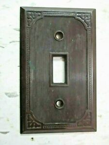 Brown Bakelite Art Deco Dots Lines Swirls 1900s Switch Plate Wall Cover Antique