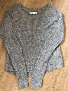 Abercrombie & Fitch Super Soft Grey Glitter Open Knit Short Wool Jumper S UK 6/8