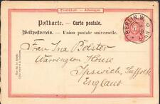 1889 BERLIN Germany to SUFFOLK ENGLAND Postal Card Cover (1339)