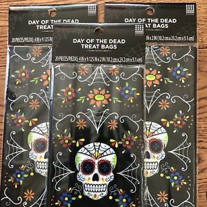 Halloween Day Of The Dead Treat Bags Candy BLACK Sugar Skull 20 Bags Ea Lot Of 3