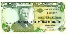 1972 Mozambique Portugal Colony Banco Nacional Ultramarino  1000 M/L Escudos UNC