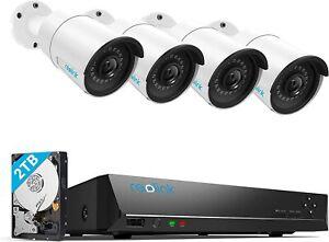 Überwachungskamera Aussen Set Kamerasystem mit 4X 5MP PoE IP Kamera, 8CH NVR 2TB