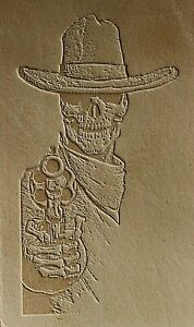 ACRYLIC Leather Embossing Stamp COWBOY SKELETON CORNER  for Veg Tanned Leather