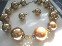 "70s Modern Bubble Bead Necklace Earring Set Bold 1.25"" Pearl Balls Acrylic  22"""