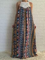 Women Sleeveless Boho Floaty Summer Maxi Long Casual Dress Size 6-8-10-12-14-16
