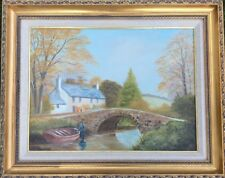 Dipinto ad olio firmato S K Burton Country Cottage By Stream & PONTE MEGATTERE