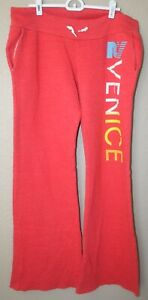 Women's Red Rebel Yell Venice Boyfriend Sweatpants Lounge Pants Size Large