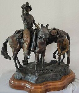 """Jeff Skelley """"Cowboy Golf"""" sculpture 10/50 limited edition signed 19"""" tall 2001"""