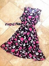 NWT SIZE XL DRESS BY ELLEN TRACY, A-LINE PNK NVY  RUFFLE HEM, SELF BELT, SCOOP